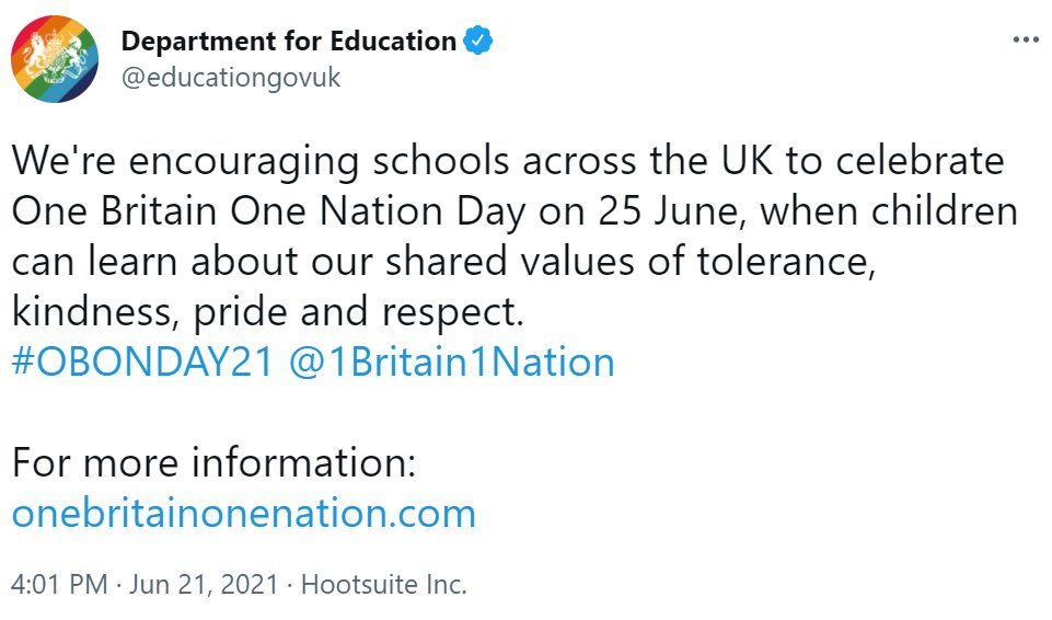 In case you're wondering where 'One Britain One Nation Day' has come from:  It's not a government campaign. It's run by a guy called Kash Singh. He trademarked it in 2005, when he was a policeman.  It's sprung to attention because the Department for Education tweeted this today. https://t.co/b94cEtDlYe