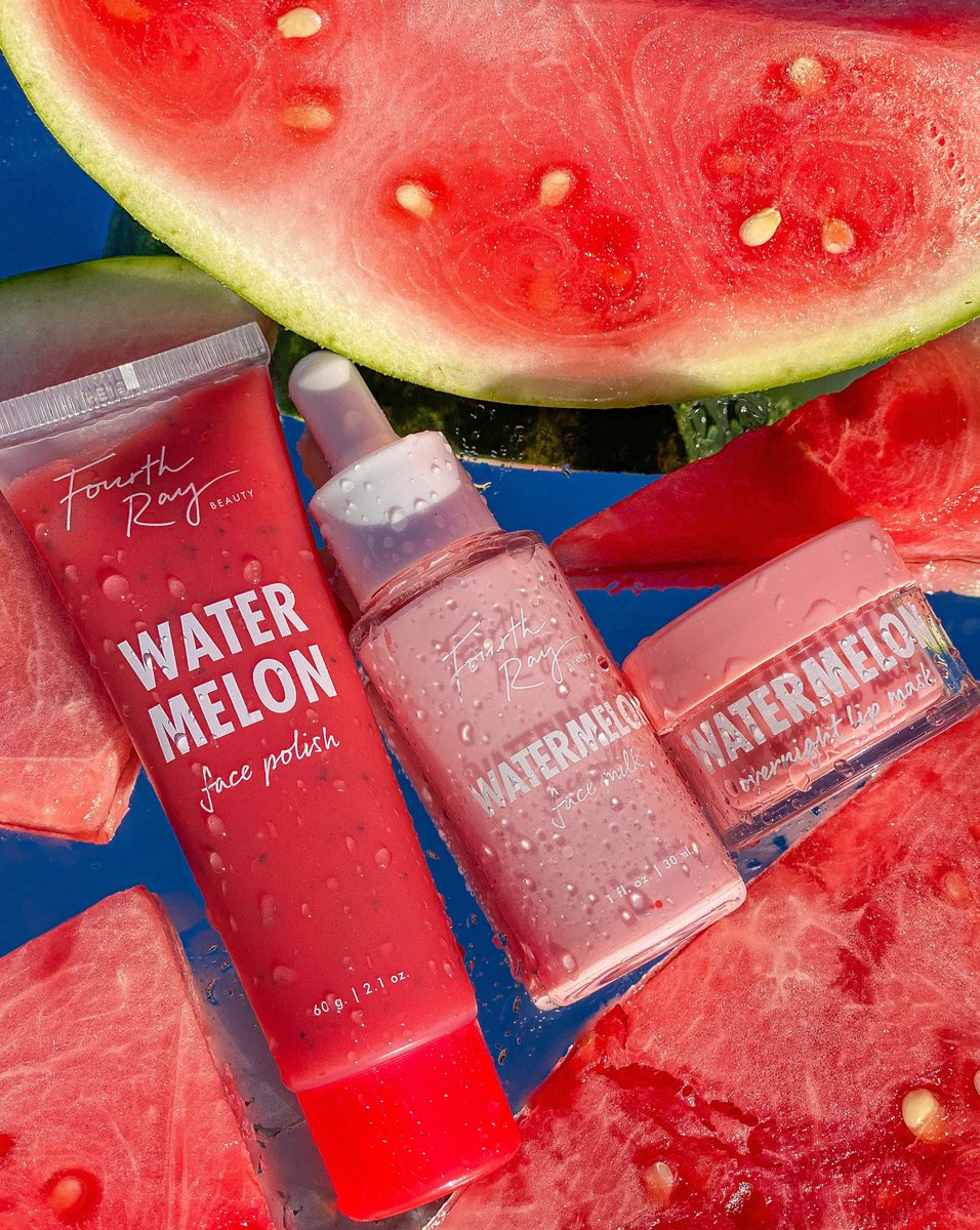 """#GIVEAWAY Things are getting juicy🍉💦We're giving away our NEW Watermelon Face Polish + a $150 e-gift card to https://t.co/7jvBmVeBhH to TWO lucky winners!  Go Enter: 💦Follow @fourthraybeauty  💦Like& RT 💦Comment """"🍉🍉🍉"""" below  📸:phithegoldenskin https://t.co/b2nlnOAWq1"""