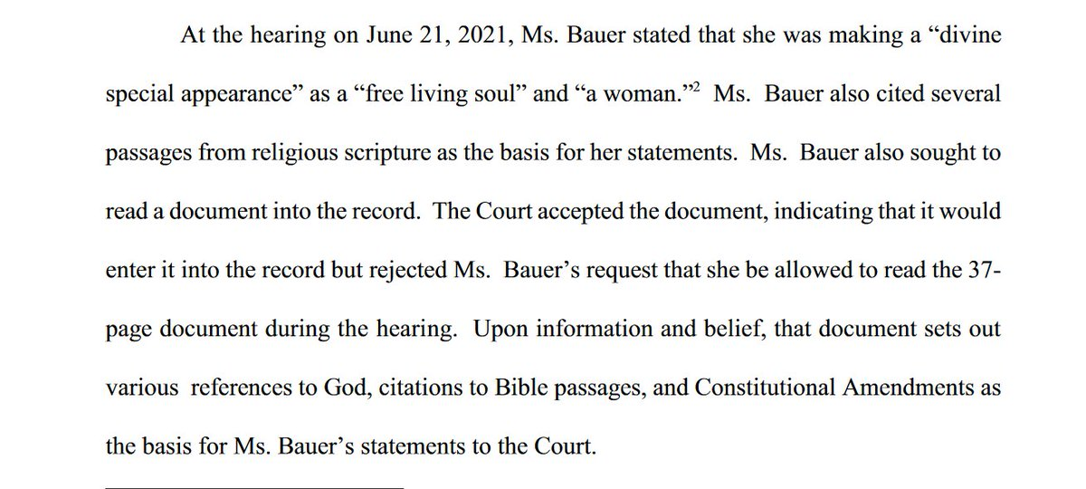 """As we wait to see if Pauline Bauer, the sovereign citizen J6 rioter who was jailed yesterday for contempt after saying was making a """"divine special appearance"""", is returning to court, her lawyer files a notice explaining what was in the 37-pager she wanted to read aloud yesterday https://t.co/Ulna47cs7R"""