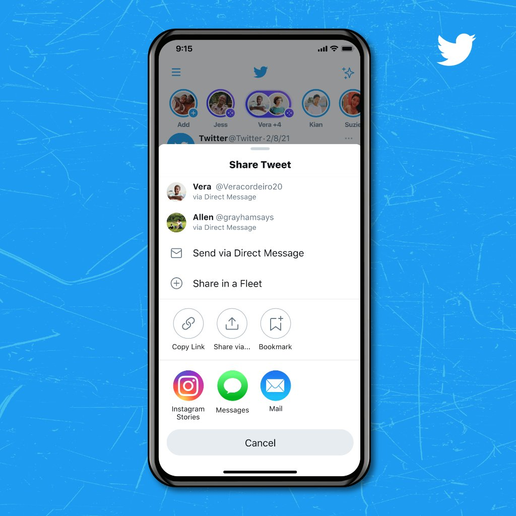 """The app version of the Share Tweet menu with an """"Instagram Stories"""" button at the bottom of it."""