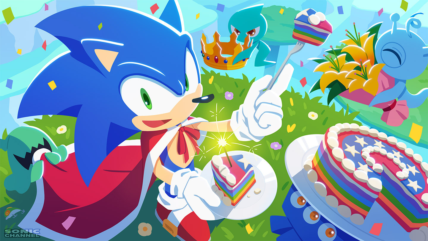 Sonic the Hedgehog and the wisps celebrating Sonic's 30th anniversary
