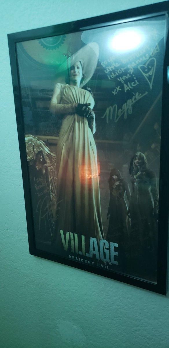 Just got it framed and on my wall!!! Much love for the lovely Ladies of House Dimitrescu!! @maggiethebard @BekkaPrewitt @NikiLeeTompkins #residentevilvillage #residentevil8 https://t.co/E7ioZYcKWc