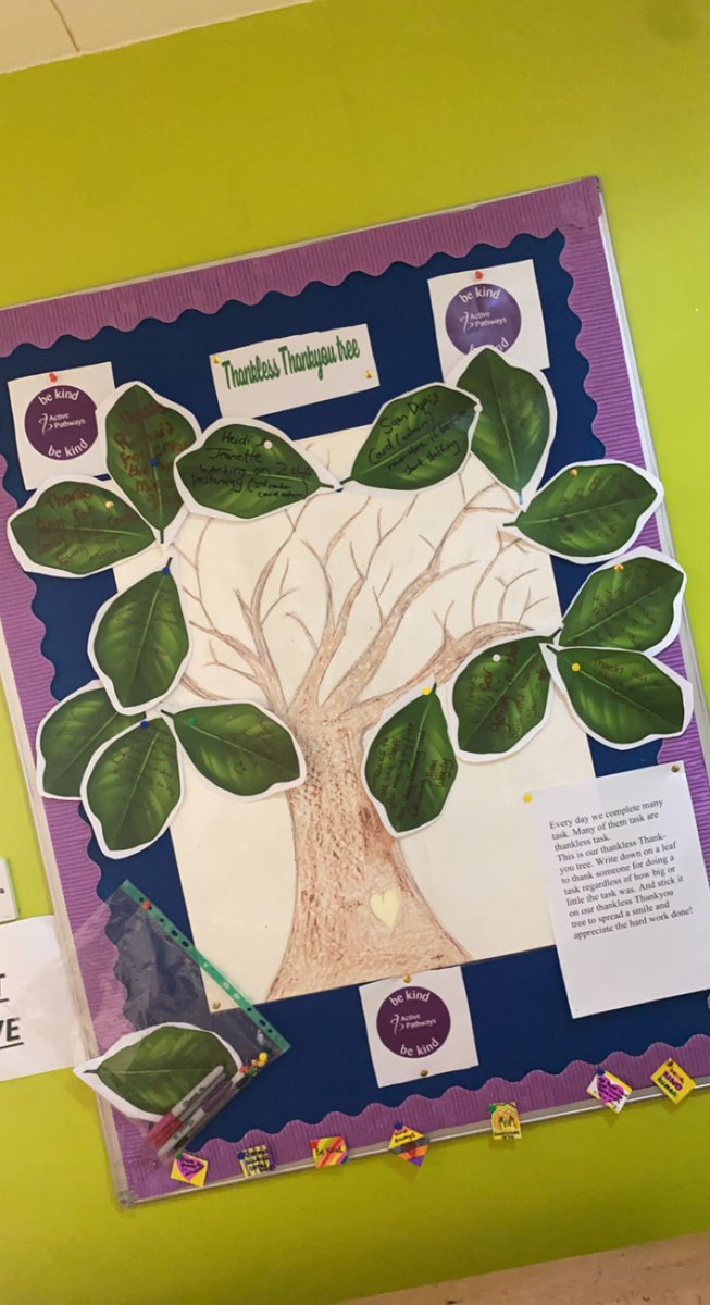 Our thankless thank you tree at Brookhaven is flourishing with compliments! Our tree is to remind ourselves to thank everyone for even the smallest of tasks – because it costs nothing to #bekind #bekindalways #mentalhealthmatters #mentalhealthadvocate #mentalhealthrecovery