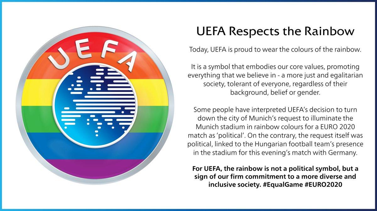 """Je m'appelle Liesjuh 🌈 on Twitter: """"Vreselijk statement @uefa Het is  irrelevant of het politiek is of niet. Er is géén neutrale optie: óf UEFA  staat München toe stadion te verlichten in"""