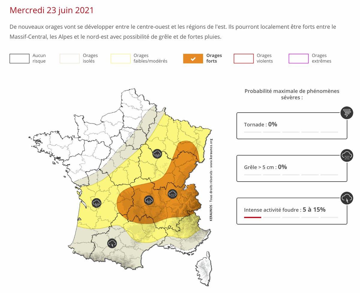 De nouveaux #orages vont se développer entre le centre-ouest et les régions de l'est. Ils pourront localement être forts entre le #MassifCentral, les #Alpes et le nord-est avec possibilité de #grêle et de fortes pluies. Bulletin complet ->