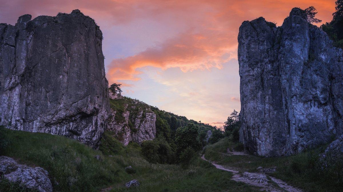 Dolina Bolechowicka at dawm.  Jura Krakowsko-Częstochowska/Polish Jurassic Highland.  #naturephotography #limestone #outcrop #rocks #geology #poland #sonyalpha #Małopolska #Malopolska #polska #dawn #nature #landscape https://t.co/TPEsuUXRdj