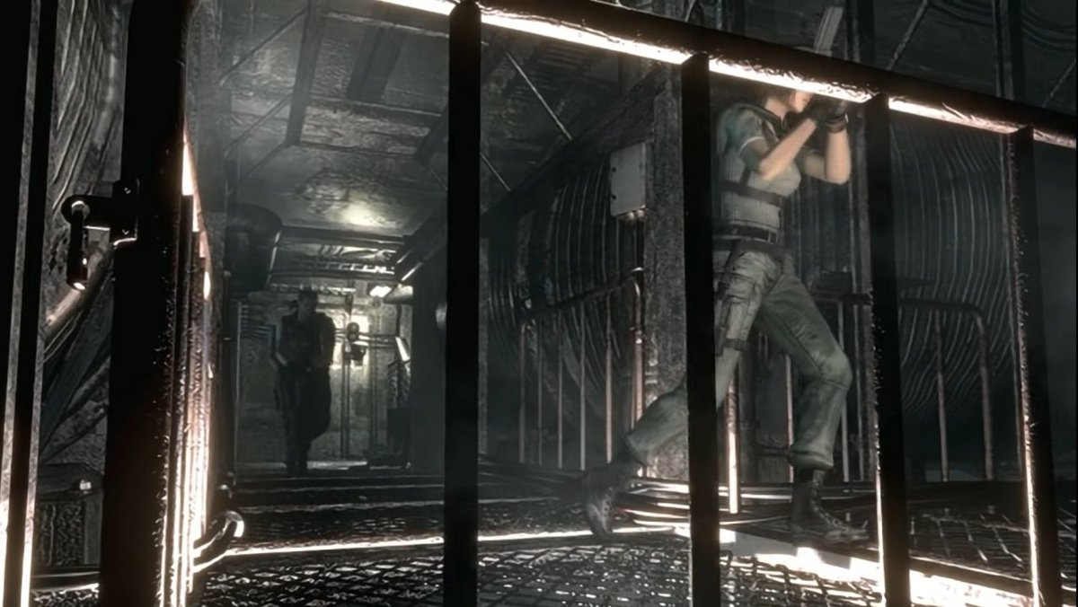 Once in the corridor which leads to the heliport, except for being three people, everything is the same as the other scenario I showed before. Essentially, Brad will call one last time, we have to reach him  ASAP before he leaves.  #REBHFun #ResidentEvil #ResidentEvilRebirth https://t.co/NK0Y8rPzZK