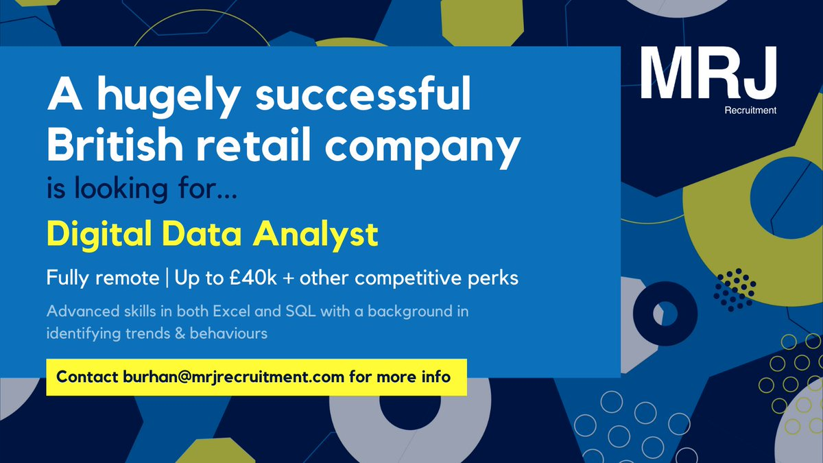NOW HIRING – Digital Data Analyst  Fully remote! - Up to £40k + other great competitive perks  https://t.co/SI8wGwrYua  #lookingfornewopportunities #Hiringnow #recruitment #retail #opportunity #recruiting #employment #jobs #jobsearch #hiring #analysts #sql #cloud #data https://t.co/rwvYgBkXad