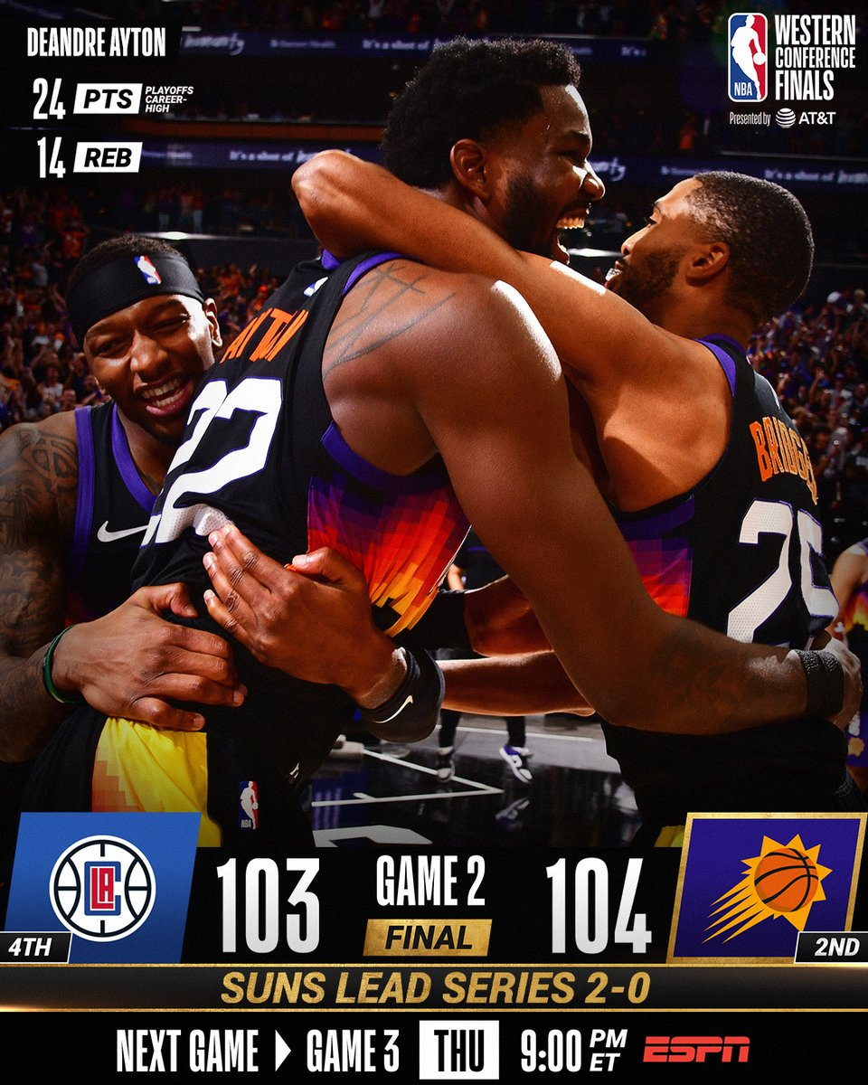 #NBANews  .@Suns lead the #NBA Western Conference Finals 2-0 after their win last night; their 9th straight victory. @ZJHENO @Sura_common #VybezAdrenaline #ThatsGame https://t.co/VRmH0oL696