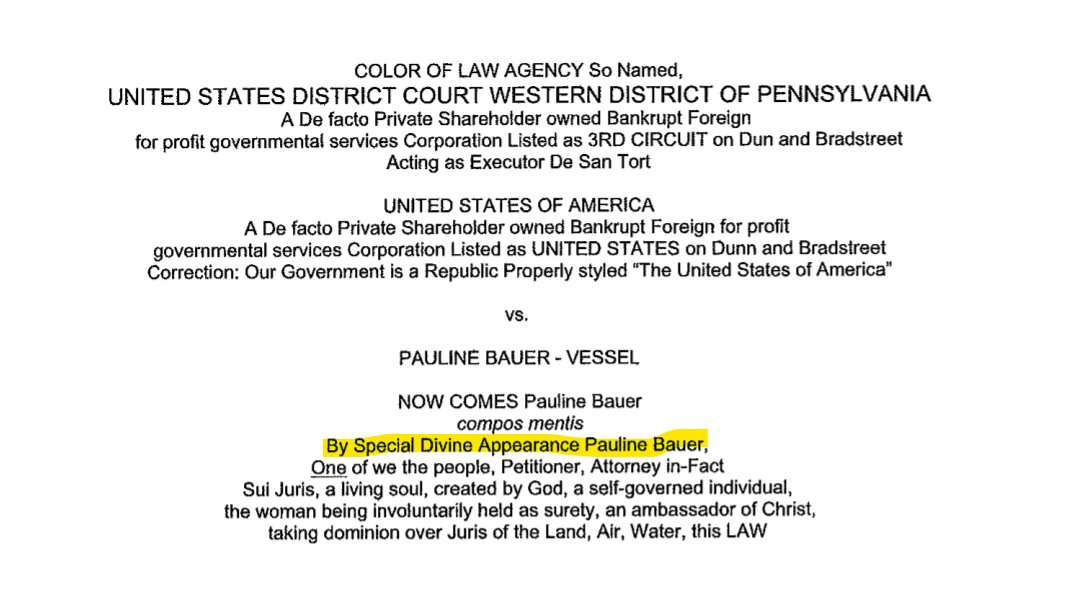 For those who followed the last two days of sovereign citizen Pauline Bauer's journey through a DC magistrate court, here's a glimpse of the document she filed in Penn after her arrest for breaching the Capitol.  It gives a flavor of sovereign citizen language and tactics. https://t.co/RazE82SopC