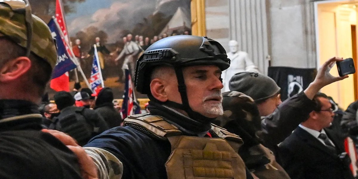 Young, from Florida, played a relatively minor role in the Oath Keepers' breach of the Capitol. He reached out to the group only a month before J6 & went to DC with his sister Laura Steele. He was then part of the stack of OKs that stormed the building. https://t.co/P6Pygj7kqw