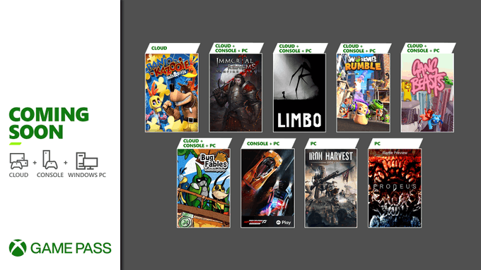 Banjo Kazooie: Nuts and Bolts, Immortal Realms: Vampire Wars, Limbo, Worms Rumble, Gang Beasts, Bug Fables: The Everlasting Sapling, Need for Speed: Hot Pursuit Remastered, Iron Harvest, and Prodeus are coming soon to Xbox Game Pass.