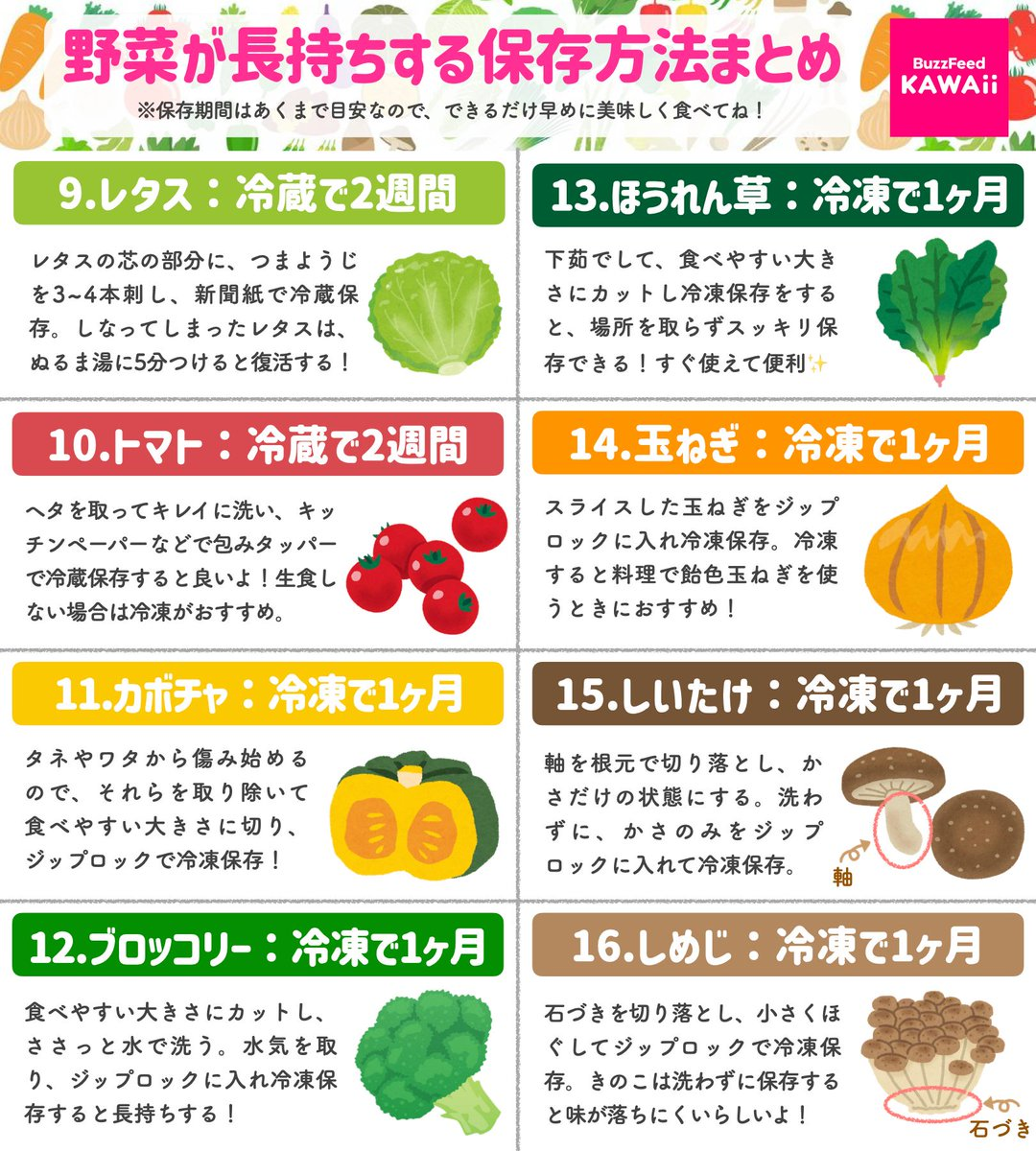 これは覚えておきたい!いろんな野菜たちの、長持ちする保存方法まとめ!