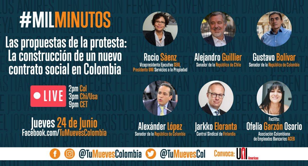 🔴FB Live: Las Propuestas de la Protesta: La construcción de un nuevo contrato social en Colombia    Mañana nos encontramos una vez más #MilMinutos   2pm 🇨🇴 3pm 🇨🇱🇺🇸 4pm🇺🇾 aquí👇🏽 https://t.co/G339qF9UCL https://t.co/4luWC4XOsx