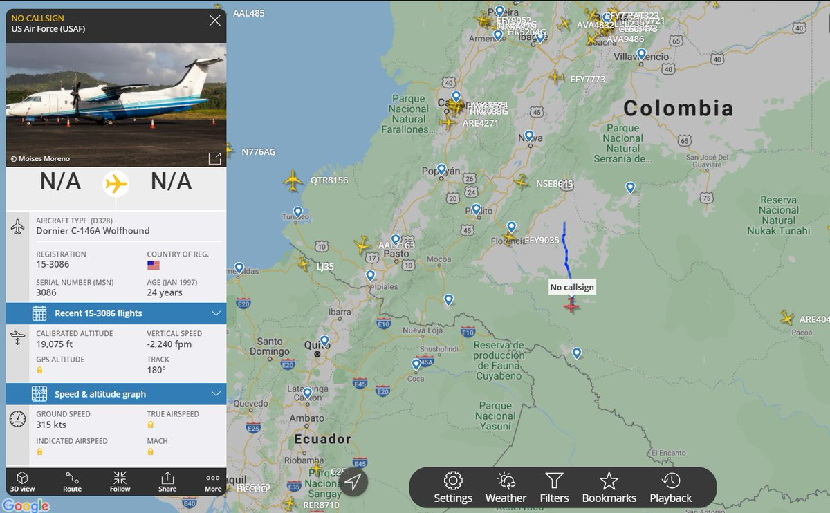 #USAF Special Operations Command transport plane, a C-146a Wolfhound, spotted over southern #Columbia. #ADSB #AE68BE https://t.co/wiqWbVY1bu