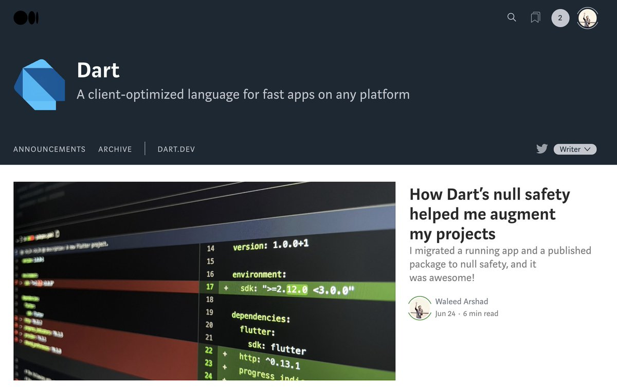 I just got my article published in @dart_lang's official Medium publication! 👨💻 Thank you @KWalrath for reaching out and managing the whole process! ⚡️ Link to article: medium.com/dartlang/how-d… @SaadGH @HufsaMunawar @nlycskn #gde #nullSafety #migration