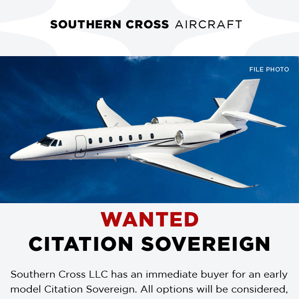 #aircraftwanted - #Citation #Sovereign at @SCrossAircraft  Full engine program Low TTSN Contact them at: https://t.co/ZNmHuETSjf  #bizjet #bizav #aircraftforsale #privatejet #privateflying #jetforsale #businessaviation