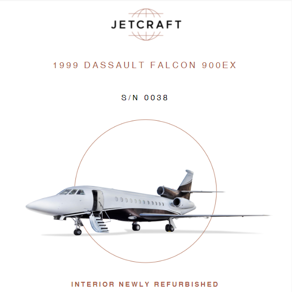 1999 #Dassault #Falcon #900EX available at @JetcraftCorp  Engines Enrolled on MSP APU Enrolled on MSP More details at: https://t.co/F7Vsh5kwOO  #bizjet #bizav #aircraftforsale #privatejet #privateflying #jetforsale #businessaviation