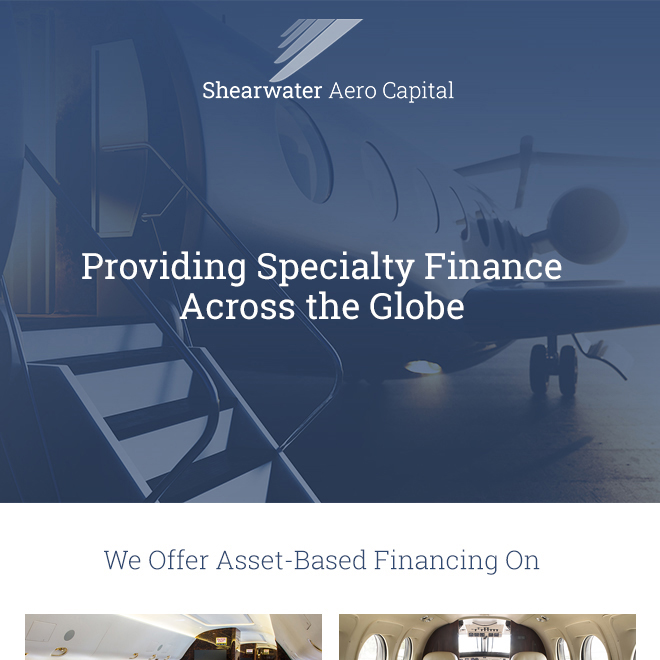@ShearwaterAero providing specialty finance across the globe. They offer asset-based financing on: aircraft, aviation equipment, yachts and high-end real estate. See more at https://t.co/y9tSz5su5v  #bizjet #bizav #aircraftfinancing