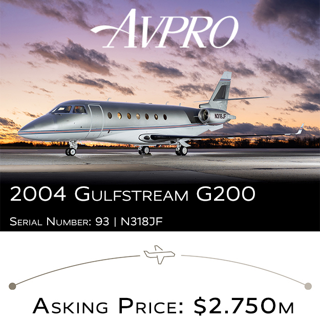 Meticulously maintained 2004 #Gulfstream #G200 available at @AvproJets   APU on MSP Gold 16C inspection by Trimec Aviation, Oct 2020 More details at: https://t.co/OplKYNLk1Q  #bizjet #bizav #aircraftforsale #privatejet #privateflying #jetforsale #businessaviation