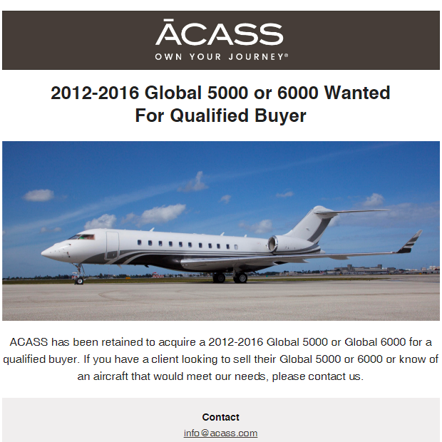 #aircraftwanted - 2012-2016 #Global 5000 or 6000 for qualified buyer at @ACASSCANADA  Contact them at: https://t.co/q5zRqD4iVg  #bizjet #bizav #aircraftforsale #privatejet #privateflying #jetforsale #businessaviation
