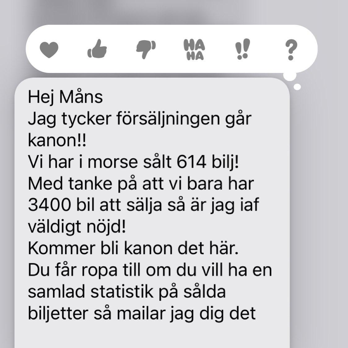 Hallå ! Igår släppte vi biljetterna - jösses vad folk handlade! Kul💥💥💥. Det blir inga extraföreställningar ( över hälften av plåtarna i Eskilstuna har sålts redan) så haffa på https://t.co/jx06Zr50Tx Varmt välkomna❤️ https://t.co/uWcVBEXyyC