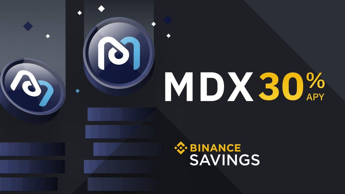 Earn 30% APY on @Mdexswap $MDX with #Binance Savings  ➡️ https://t.co/zcy9EMI9Wy https://t.co/ORiF3bhPpc