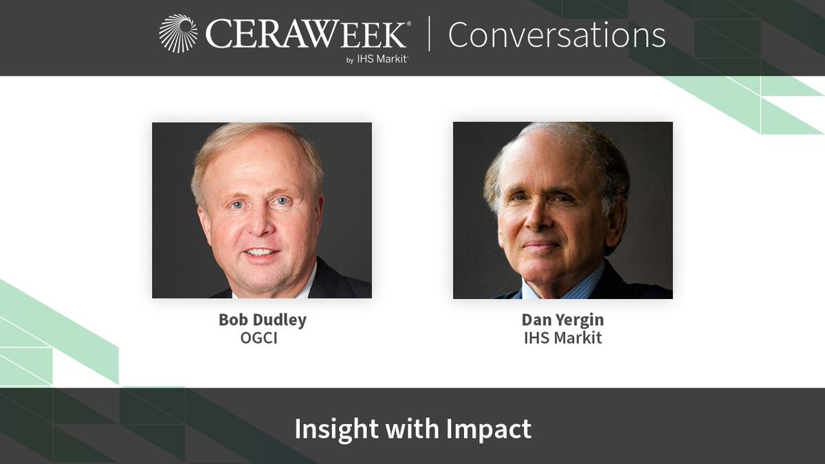OGCI's Chairman, Bob Dudley, sat down with @IHSMarkit's Vice Chairman @DanielYergin to discuss OGCI's initiatives for reducing emissions and accelerating the development of technologies like #CCUS.  📽️Watch the latest CERAWeek Conversations video here: https://t.co/tW48ipLsBZ