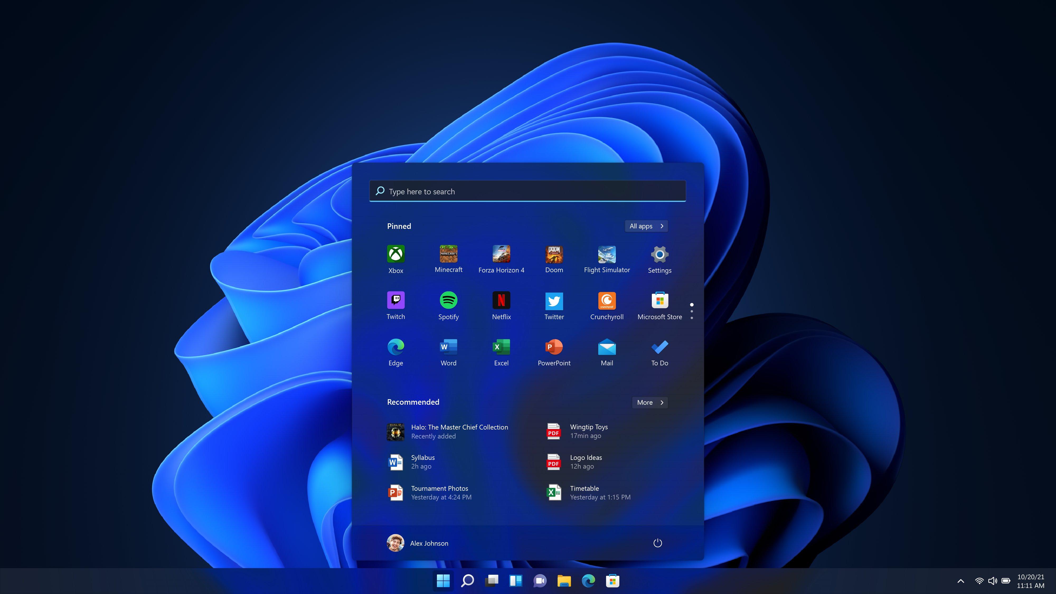 The new Windows 11 Start menu