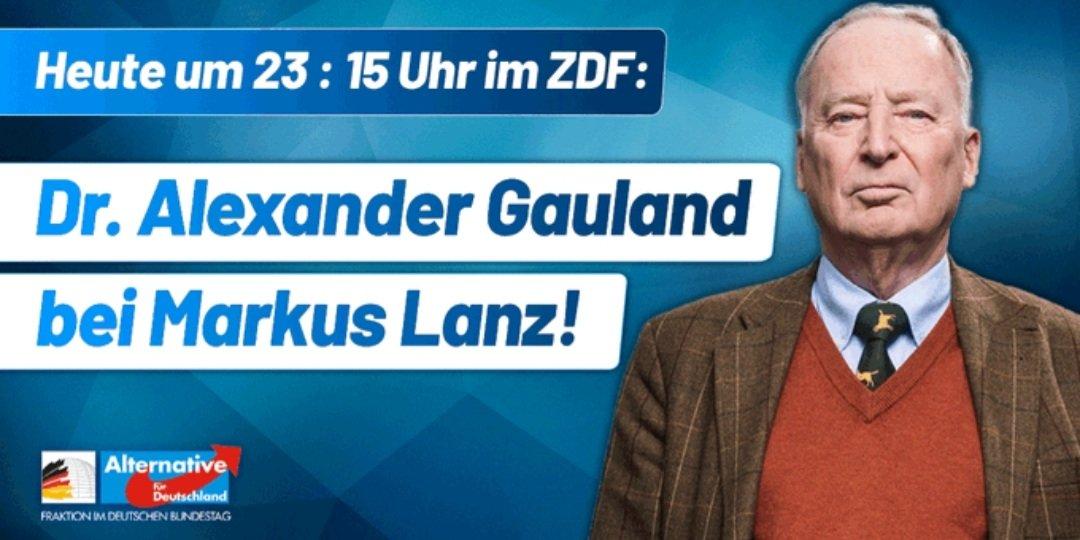 RT @marceselvis: Heute Abend ist Alexander #Gauland zu Gast bei Markus #Lanz. 💙🇩🇪💙 Deutschland. Aber normal. #AfD https://t.co/tapgiGPlOL