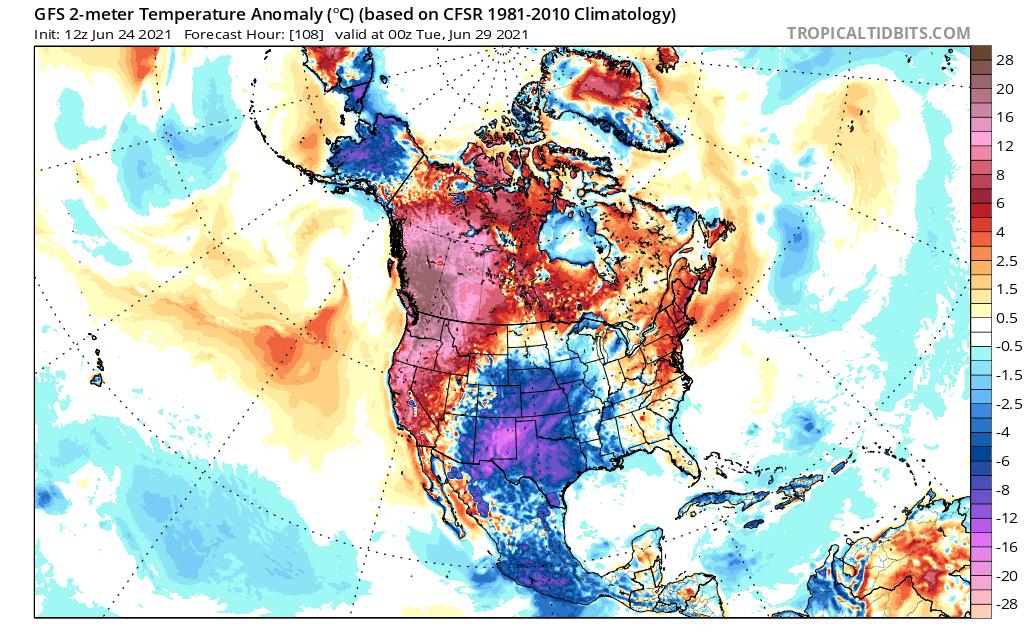 Une vague de chaleur exceptionnelle est attendue d'ici le début de semaine prochaine sur l'ouest de l'Amérique du Nord. Le record national de chaleur du #Canada (45°C) pourrait être menacé. Nombreux records absolus attendus entre NO USA et ouest Canada.