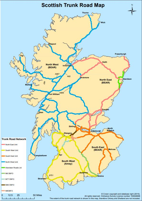 test Twitter Media - Not sure what roads we report on? 🤔   Take a look at map below 📸 👇 & remember we report live traffic and travel info, road operating companies look after Trunk Roads 🐘   #BeAware https://t.co/UzAhI89zkl