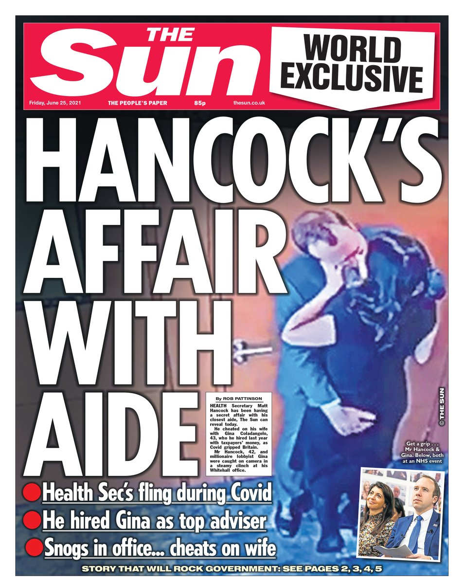 """The Sun on Twitter: """"A HUGE world exclusive on today's front page - Matt Hancock's secret affair caught on camera and exposed https://t.co/LB52NswvsL… https://t.co/JROZF8sSZ8"""""""