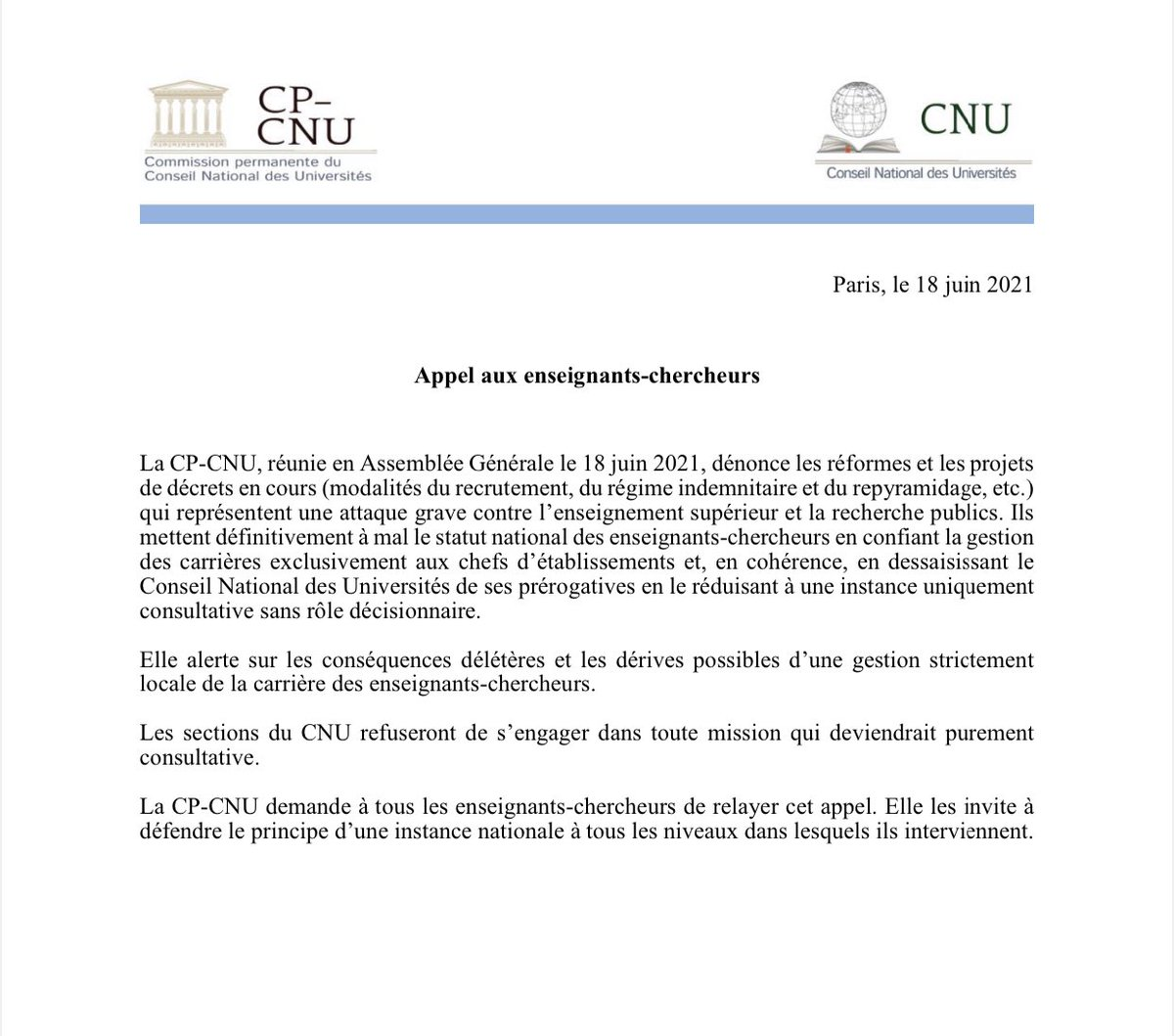 RT @ArnaudMartinon: 👉 CNU appel aux enseignants-chercheurs https://t.co/YUYOInIAiI