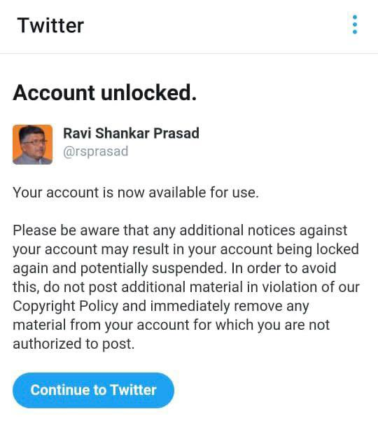 Indias IT minister slams Twitter for denying access to account Photo