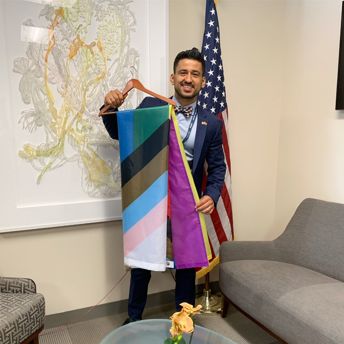 The flag has been steamed and ready to be hung on the main pole at the @StateDept for the first time in history. See you at 3:30p.m. @OutInNatSec @Global_Equality @CapehartJ #servingwithpride @ShalomKon https://t.co/4vPL8cxT2o