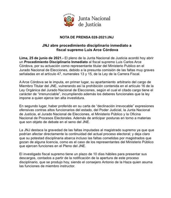 Abren proceso disciplinario contra magistrado Luis Arce Córdova por declinación al Pleno del JNE. Captura: JNJ
