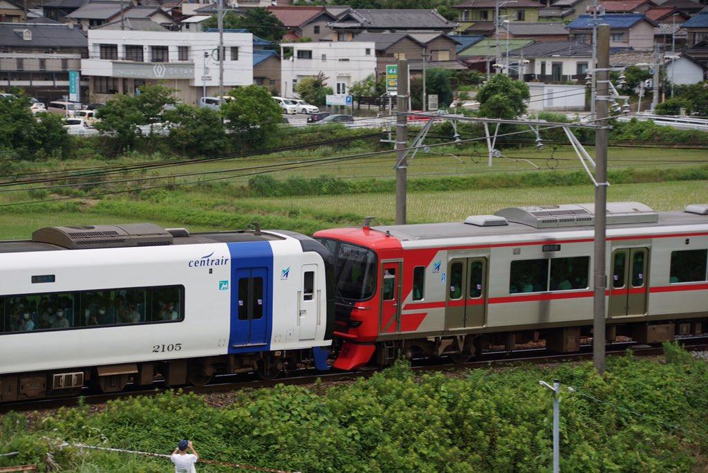【トンデモ編成】ミュースカイと通勤型9500形が連結して運転 阿久比陸橋に撮り鉄が約200人集結