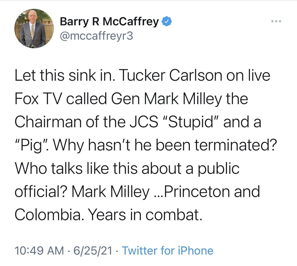 Umirovljeni Američki general na twitteru pozvao na likvidaciju Tuckera Clarlsona E4z6osmXoAEbKQ8?format=jpg&name=large