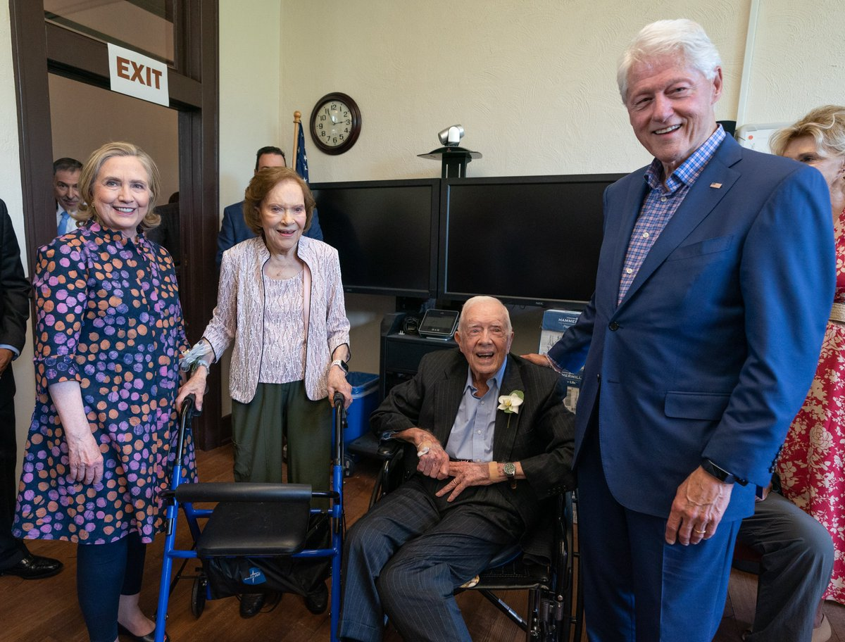 We loved being in Plains today with our dear friends Jimmy and Rosalynn Carter to celebrate 75 years of their wonderful marriage.