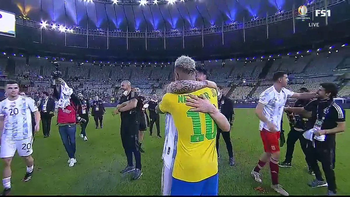 Messi and Neymar share a moment after the game.  This is what it's all about.  (via @FOXSoccer)   https://t.co/w115hb97lg