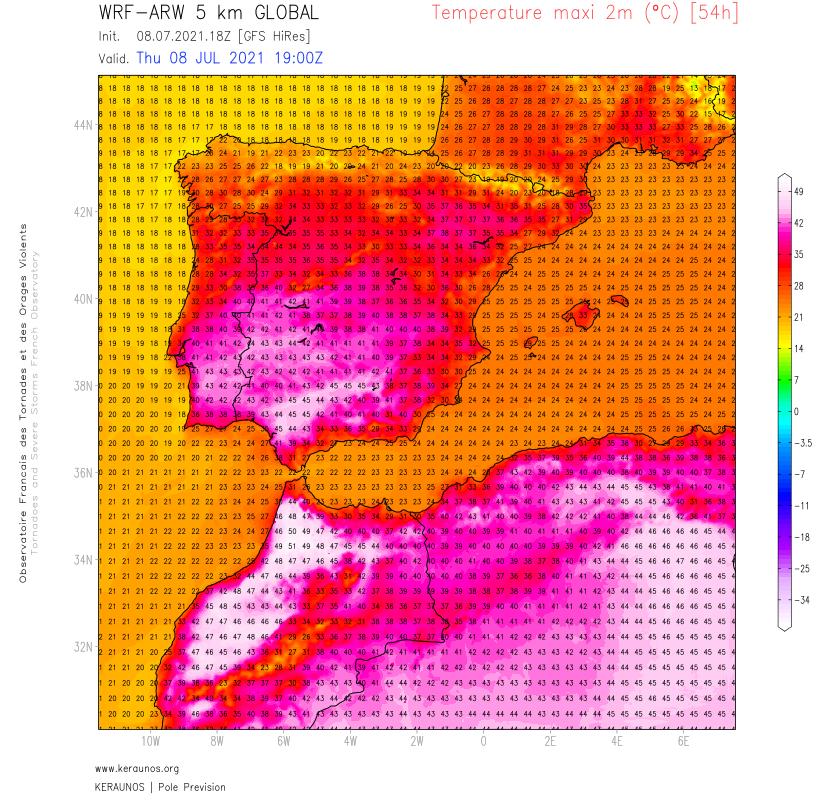 Grosse chaleur dès ce vendredi sur le #Maroc où il pourrait faire plus de 50°C à l'ouest de Fès demain samedi. Sur le sud de l'#Espagne, des pointes à 45°C envisageables demain samedi.
