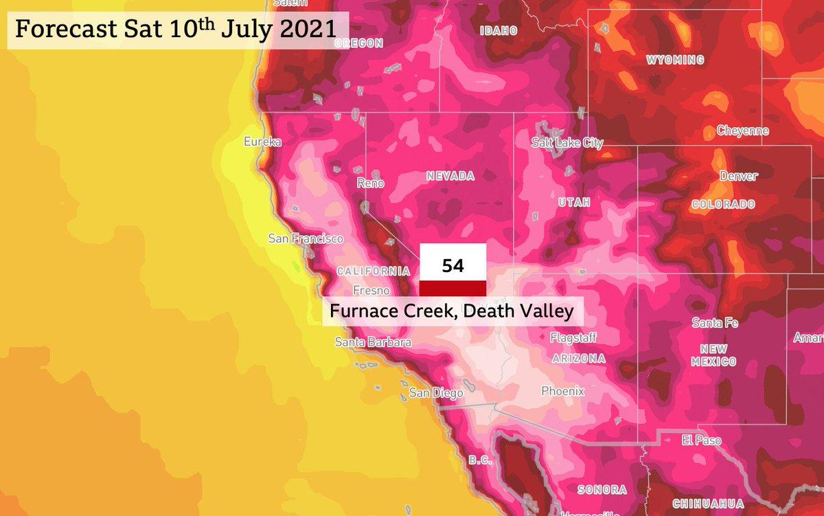 54°C demain samedi voire 55°C dimanche prévu dans la Vallée de la Mort aux #USA, soit des températures au niveau des records mondiaux fiables. A suivre !