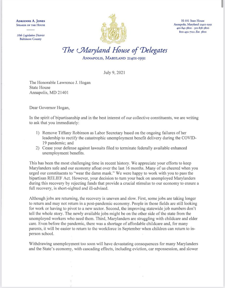 Our struggling Marylanders deserve way better. Proud to support this letter calling on the governor to cease his expensive fight against so many whose lives were upended by a world-wide pandemic. Thank you @SpeakerAJones & @SenBillFerg for your leadership. @mdhousedems https://t.co/y0CBwxXxm6