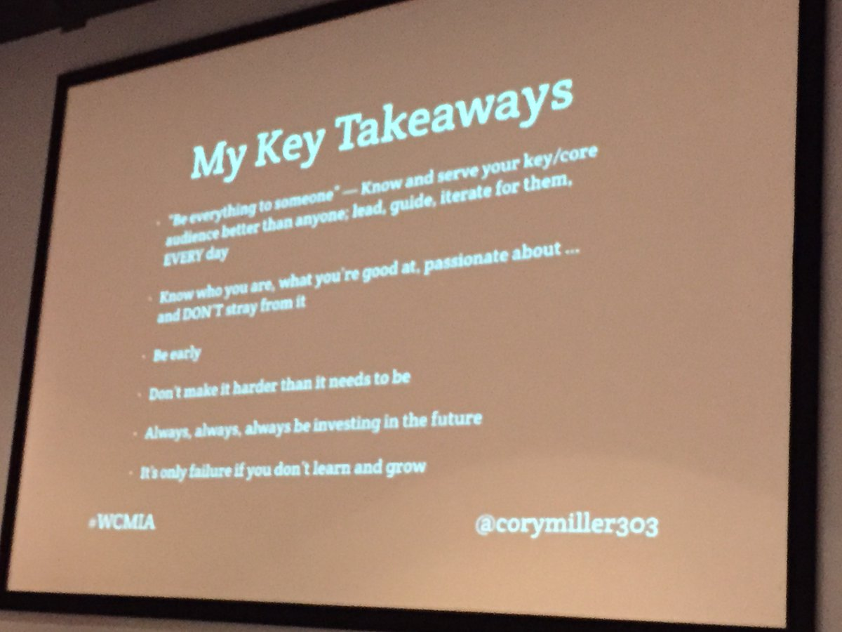 """test Twitter Media - Wisdom from @corymiller303 back in @wordcampmiami  2015!  """"* Be everything to someone-Know and serve your key/core audience better than anyone; lead, guide, iterate for them, EVERY day * Know who you are, what you're good at, passionate about... and DON'T stray from it ... https://t.co/S4CRswR2CM"""