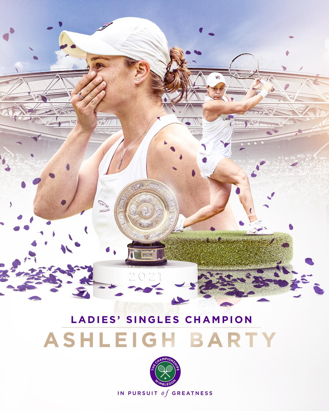 विंबलडन टेनिस टूर्नामेंट में ऑस्ट्रेलिया की एश्ले बार्टी ने महिला सिंगल्स का खिताब जीता