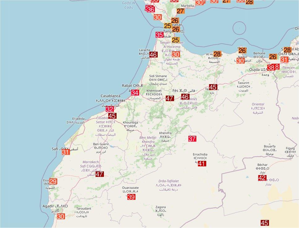 Des records absolus de chaleur ont été battus au #Maroc, notamment à Meknès (46,8°C) et Larache (46,4°C). A Fès, le record absolu a été égalé avec 46,4°C. Carte Ogimet