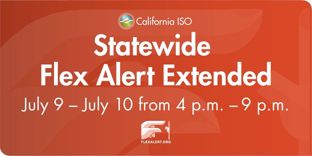 The @California_ISO has issued a statewide #FlexAlert for Saturday, July 10, from 4-9 p.m. encouraging consumers to conserve energy to help alleviate stress on the #powergrid. Read the news release: https://t.co/PQw5kagYM2 https://t.co/CXGle8boyF