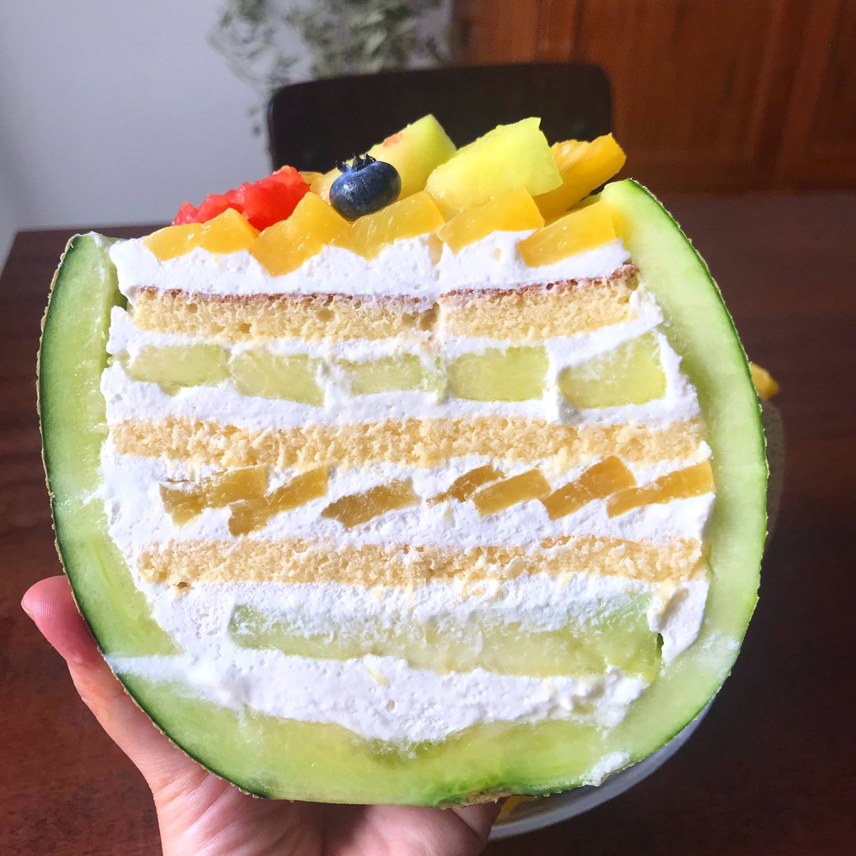 フルーツ盛沢山!?中身がぎっしり詰まったメロンケーキの作り方!