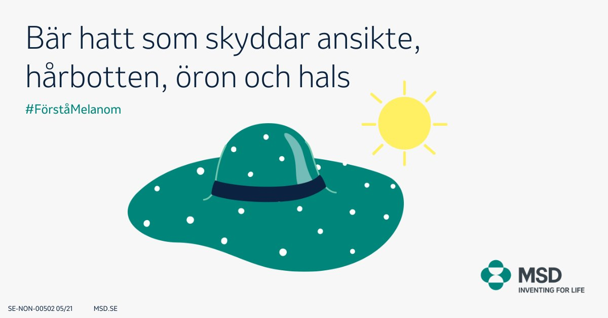 Känner du till hur du kan sänka risken för melanom? Ett sätt är att bära en hatt. Försök hitta en hatt med minst 5 cm bred kant som skyddar ansikte, hårbotten, öron, hals och nacke. Läs mer på https://t.co/sw0lOchd1d  #Förståmelanom #Melanom https://t.co/vymKDs0eZO